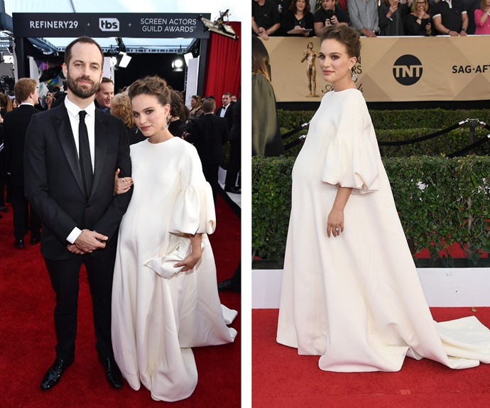 Best lead actress nominee Natalie Portman is ethereal in a voluminous, white dress.