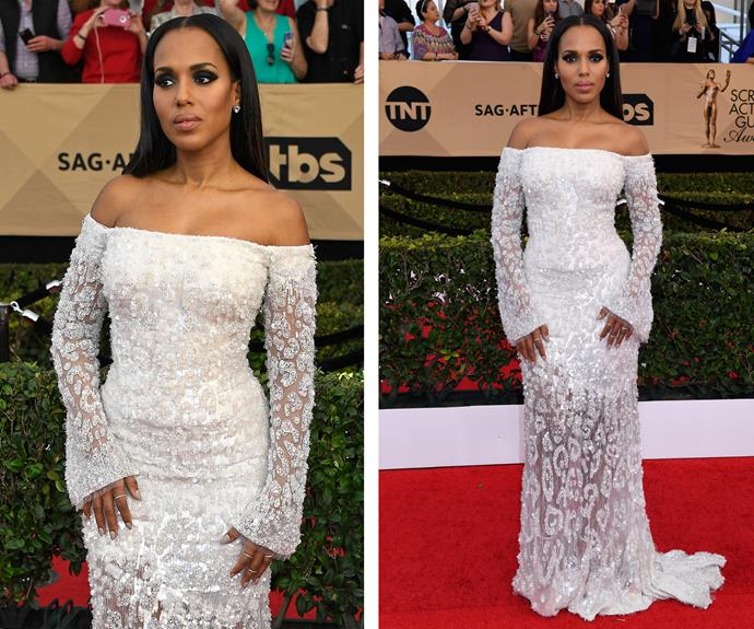 Nominee Kerry Washington's white, patterned dress is a glamorous choice.