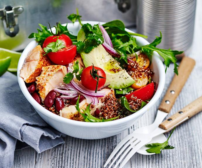 "This [spicy roast salmon burrito bowl](https://www.womensweeklyfood.com.au/recipes/salmon-burrito-bowl-recipe-30924|target=""_blank"") makes an ideal [workday lunch](https://www.womensweeklyfood.com.au/workday-lunches