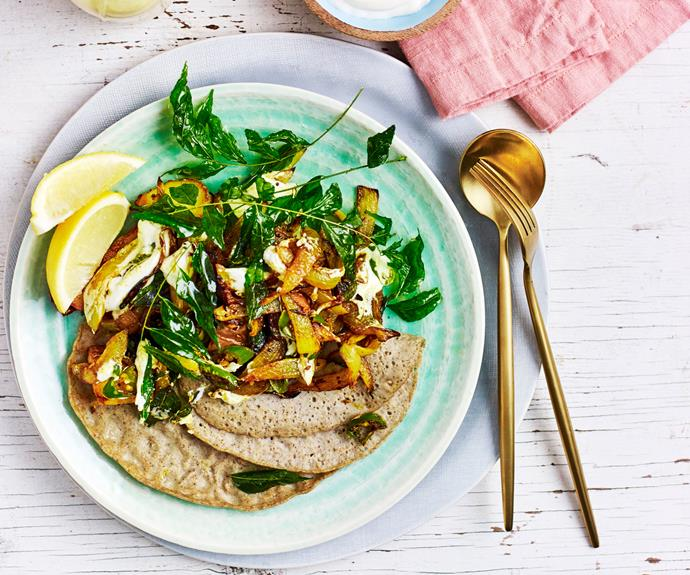 """By now we're all familiar with the anti-inflammatory properties of turmeric, which is why this [turmeric dosas and chilli green potatoes recipe](https://www.womensweeklyfood.com.au/recipes/dosa-recipe-30957