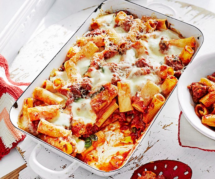 """Okay so this [Italian sausage pasta bake](https://www.womensweeklyfood.com.au/recipes/italian-sausage-pasta-bake-25723