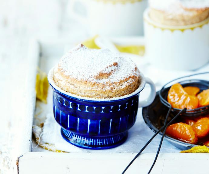 "Flex your culinary muscles with this [mandarin and chai souffle](https://www.womensweeklyfood.com.au/recipes/mandarin-chai-souffle-recipe-31142|target=""_blank"") recipe. Served with caramelised mandarins, it's a fun spin on the classic French dessert."