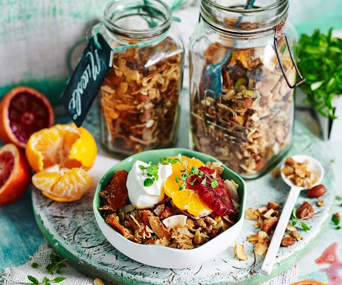 "This [mandarin and cardamom grain-free muesli](https://www.womensweeklyfood.com.au/recipes/gluten-free-muesli-17358|target=""_blank"") is a flavour-infusion worth waking up for!"