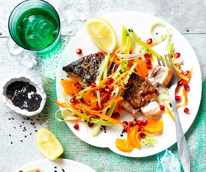"Mandarins in a salsa? You bet! This [crisp-skinned barramundi recipe](https://www.womensweeklyfood.com.au/recipes/barramundi-recipe-31145|target=""_blank"") pairs beautifully with a salsa made from tart pomegranate, zesty mandarin and a sweet ginger dressing. And this one takes less than 30 minutes to make!"
