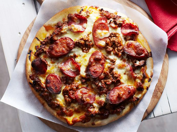 "**[Meat lover's pizza](http://www.womensweeklyfood.com.au/recipes/meat-lovers-pizza-15091|target=""_blank""):** Both, sopressa and chorizo can be quite spicy. Taste the different varieties on offer at the delicatessen before making this meat lover's pizza."