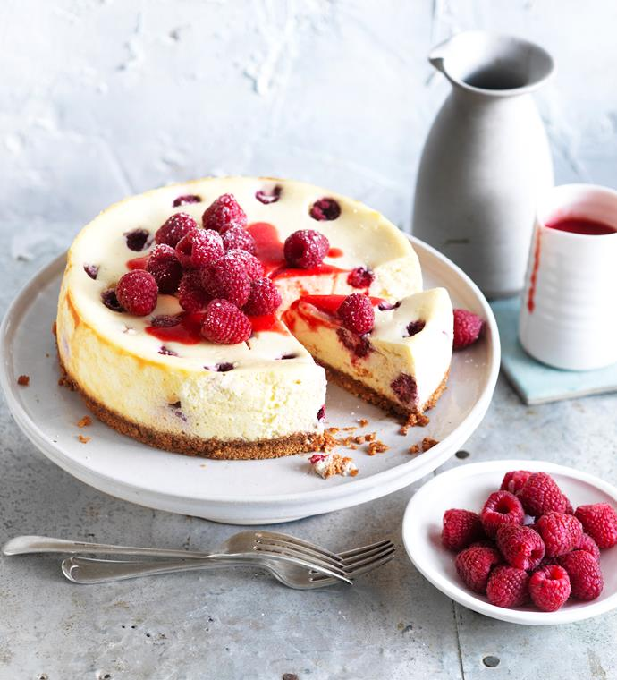 """**[Raspberry ricotta cheesecake with amaretti crust](https://www.womensweeklyfood.com.au/recipes/raspberry-ricotta-cheese-cake-with-amaretti-crust-5596