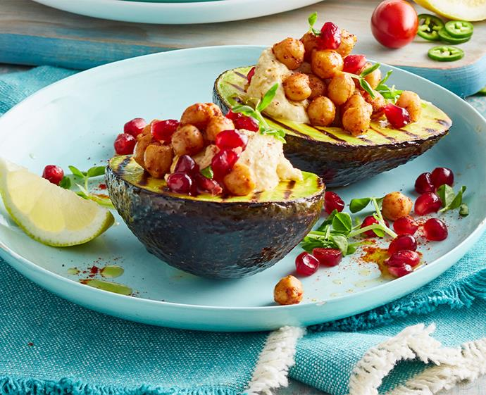 "**[Chargrilled avocado with harissa hummus](http://australianavocados.com.au/recipes/chargrilled-avocado-with-harissa-hummus/|target=""_blank""