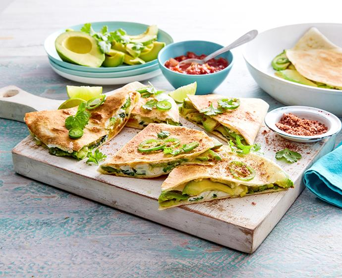 "**[Spicy avocado, egg and three cheese quesadillas](http://australianavocados.com.au/recipes/spicy-avocado-egg-and-three-cheese-quesadillas/|target=""_blank""
