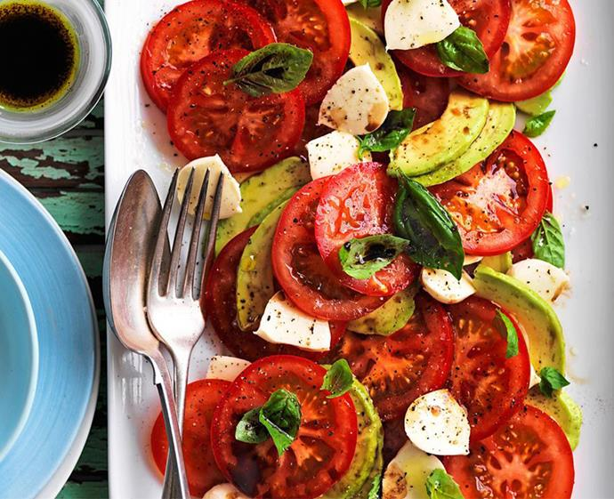 "**[Avocado caprese salad](https://www.womensweeklyfood.com.au/recipes/avocado-caprese-salad-1-29217|target=""_blank"")** <br><br> Your go-to summer salad just got even better. We can't get enough of this super-easy, quick and delicious side dish. Simply slice your tomatoes, avocados and bocconcini, arrange them on a platter, and add a drizzle of olive oil, handful of basil and pinch of salt and pepper — your dish is ready to serve!"