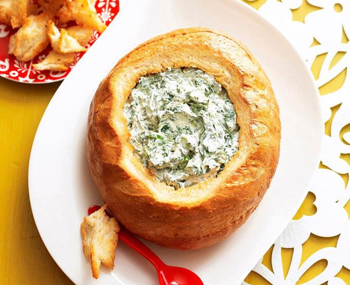 "**[Spinach dip cob loaf](https://www.womensweeklyfood.com.au/recipes/cob-loaf-spinach-dip-6574|target=""_blank"")** <br><br> This '70s favourite makes a comeback as the perfect modern-day party starter. Simply scoop out the cob's centre, add the cream cheese filling and *voila*  - the perfect grazing board centrepiece."