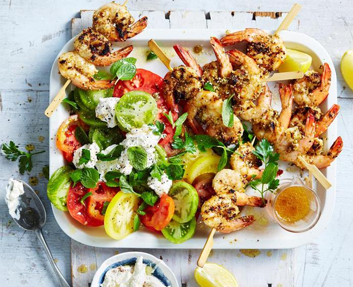 "**[Dukkah prawn skewers with labne and minty tomato salad](https://www.womensweeklyfood.com.au/recipes/dukkah-prawn-skewers-7432|target=""_blank"")** <br><br> Prawns are a Christmas Day staple in Australia but this year, give them a Middle Eastern twist. Barbecued or grilled, these skewers are easy and quick to put together, making them a winning starter at any big day feast."