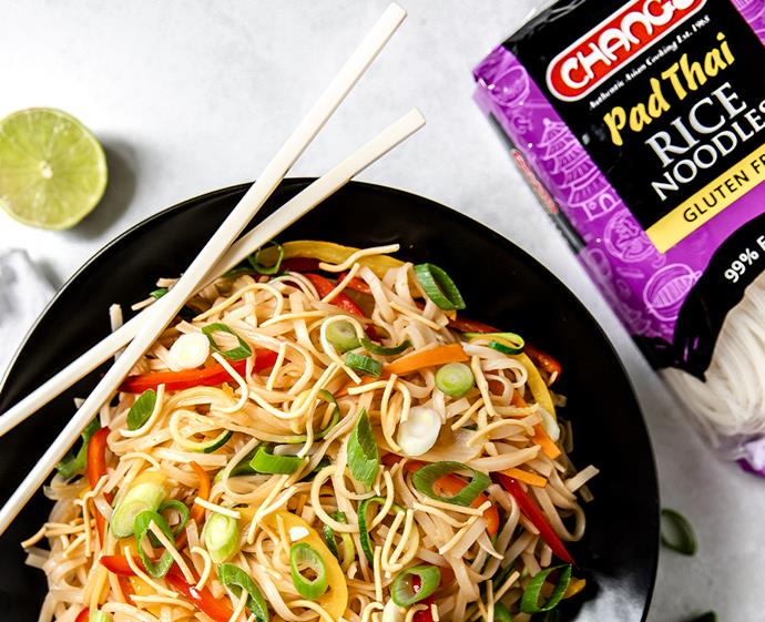"**[Rainbow vegetarian pad Thai with crispy noodles](https://www.changs.com/recipes/Rainbow-Vegetarian-Pad-Thai-with-Crispy-Noodles/|target=""_blank""