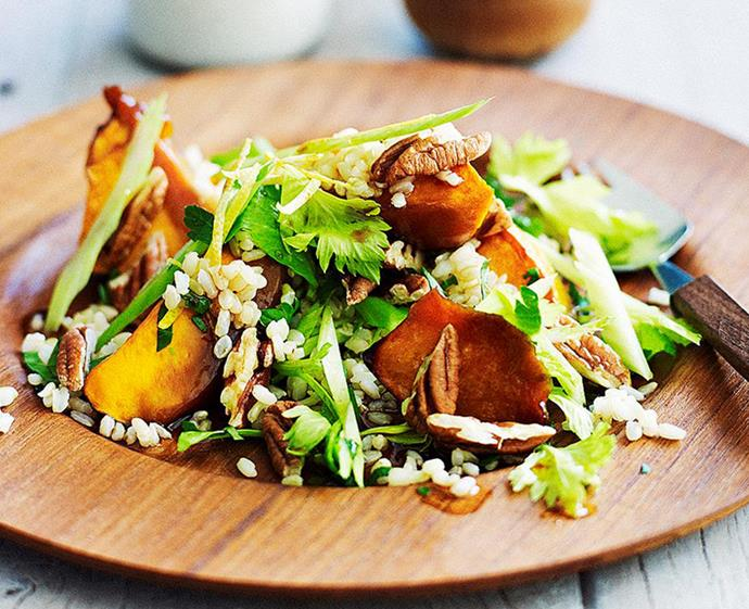 "**[Brown rice and roast pumpkin salad](https://www.womensweeklyfood.com.au/recipes/brown-rice-and-roast-pumpkin-salad-28325|target=""_blank"")** <br><br> Vegans and meat-lovers alike will love this refreshing salad, where sweet maple syrup and soy sauce are the backbeat to pumpkin and rice. It's a summery blend of textures that will be right at home on any Aussie Christmas table."