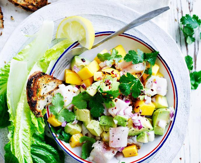 """**[Avocado and mango ceviche](https://www.womensweeklyfood.com.au/recipes/avocado-and-mango-ceviche-28863 target=""""_blank"""")** <br><br> This avo and mango ceviche is summer in a bowl, offering a zesty seafood sensation topped with chilli flakes for that extra kick. Served as a side or enjoyed as a light meal, this dish is set to become a mainstay in your weekly warm-weather meal plan."""