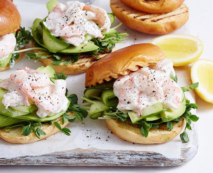 """**[Prawn and avocado sliders](https://www.womensweeklyfood.com.au/recipes/prawn-and-avocado-sliders-1892 target=""""_blank"""")** <br><br> Fresh avocado slices transform these creamy aioli and prawn sliders into the ultimate dinner party canape. Delicious and nutritious, these mini burgers are packed with sprouts and crispy cucumber for added crunch."""