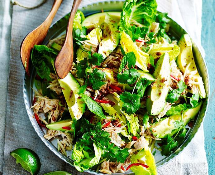 "**[Poached chicken salad with avocado and green papaya](https://www.womensweeklyfood.com.au/recipes/poached-chicken-salad-with-avocado-and-green-papaya-29012|target=""_blank""