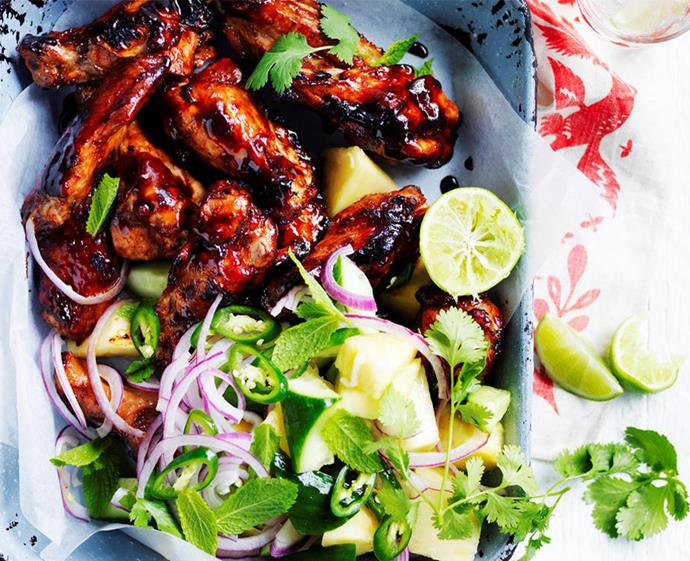"**[Pineapple huli huli chicken wings](https://www.womensweeklyfood.com.au/recipes/pineapple-huli-huli-chicken-wings-28881|target=""_blank"")** <br><br> Tangy, sweet and sticky, these share-friendly beauties will pair perfectly with fruity summer salads. Napkins, essential."