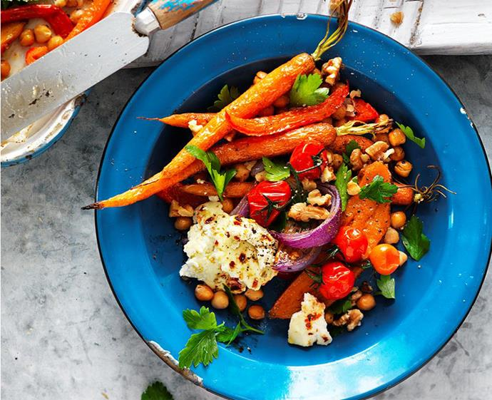 "**[Spiced vegetable, chickpea and ricotta salad](https://www.womensweeklyfood.com.au/recipes/spiced-vegetable-chickpea-and-ricotta-salad-29275|target=""_blank"")** <br><br> Vegetarians and meat-lovers alike will love this caramelised vegie salad. Tossed with baked ricotta, chickpeas and walnuts, it's best served warm. Leftovers? Take extras to work for a fancy *al desko* lunch."
