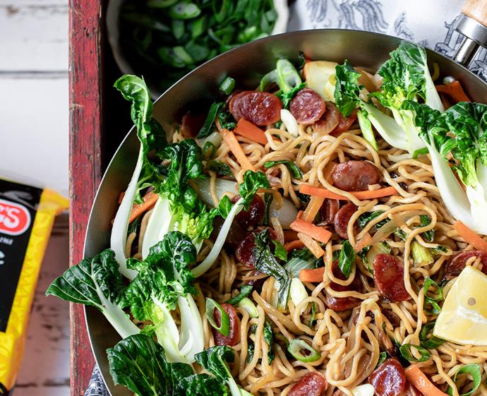 "**[Noodle stir fry with Chinese sausage](https://www.changs.com/recipes/Noodle-Stir-Fry-with-Chinese-Sausage/|target=""_blank""