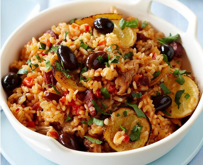 "**[Baked paella](https://www.womensweeklyfood.com.au/recipes/baked-paella-15687|target=""_blank"")** <br><br> This Spanish favourite is perfect for an easy after-work fix. It's packed with veg, chicken, salami and fragrant spices, and works as a main or tapas-style plate."