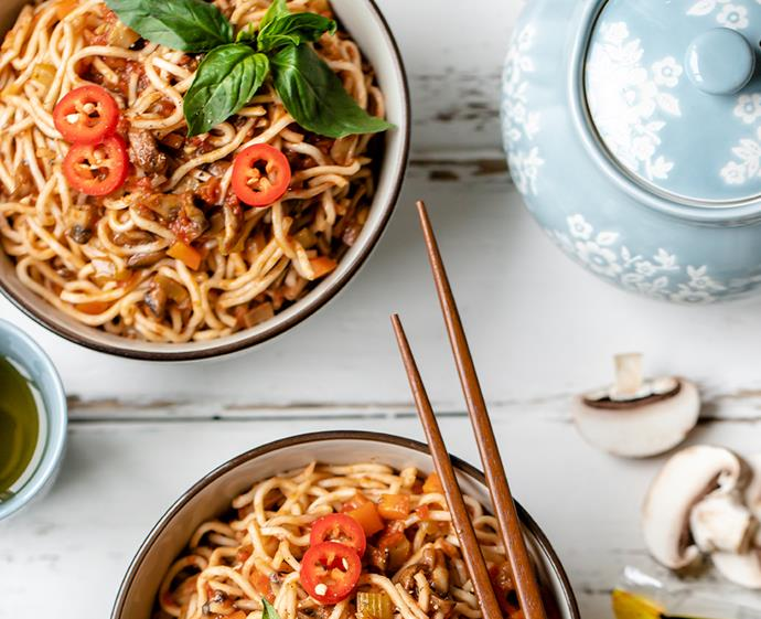"**[Noodles with mushroom Bolognese](https://www.changs.com/recipes/Noodles-with-Mushroom-Bolognese/|target=""_blank""