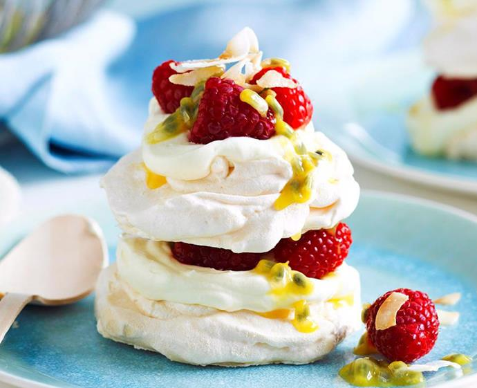 "**[Coconut Pavlova stacks](https://www.womensweeklyfood.com.au/recipes/coconut-pavlova-stacks-17778|target=""_blank"")** <br><br> Summer isn't summer without pavlova. These fun, stackable mini desserts can be whipped up in under an hour, and make the ultimate dinner-party dessert. Ours are filled with cream, raspberries, coconut and passionfruit – but you can top with whatever your tastebuds desire. <br><br> *Brought to you by [Changs](https://www.changs.com/recipes/
