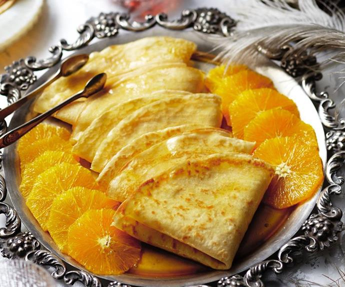 "[Crepes suzette](https://www.womensweeklyfood.com.au/recipes/crepes-suzette-14534|target=""_blank"")"
