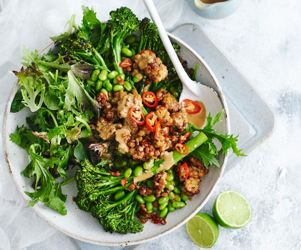 "With roasted broccolini, crunchy edamame and chilli tempeh, this is your new go-to [vegan salad](https://www.womensweeklyfood.com.au/recipes/roasted-broccolini-edamame-and-chilli-tempeh-salad-31507|target=""_blank"") designed to impress."