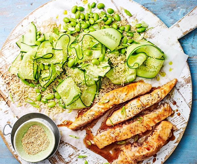 "**[Teriyaki salmon with edamame and cucumber rice salad](https://www.womensweeklyfood.com.au/recipes/teriyaki-salmon-with-rice-salad-31371|target=""_blank"")**  *Gluten-free and dairy-free when using gluten-free soy*"