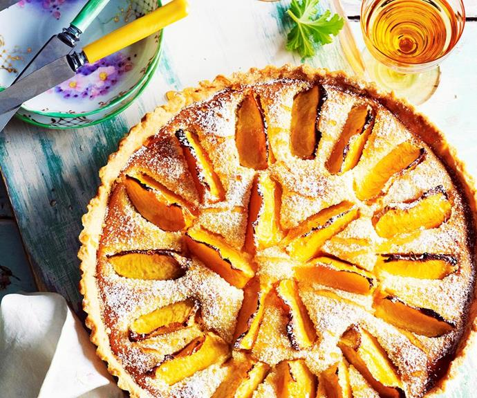 "[Peach and rose frangipane tart](https://www.womensweeklyfood.com.au/recipes/peach-and-rose-frangipane-tart-27897|target=""_blank"")"