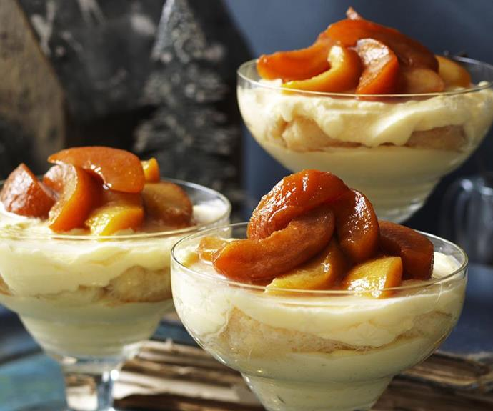 "[Peach and nectarine trifle](https://www.womensweeklyfood.com.au/recipes/peach-and-nectarine-trifle-15134|target=""_blank"")"