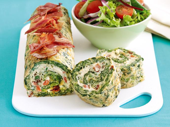 "**[Spinach roulade](https://www.womensweeklyfood.com.au/recipes/spinach-roulade-19292|target=""_blank"")**"