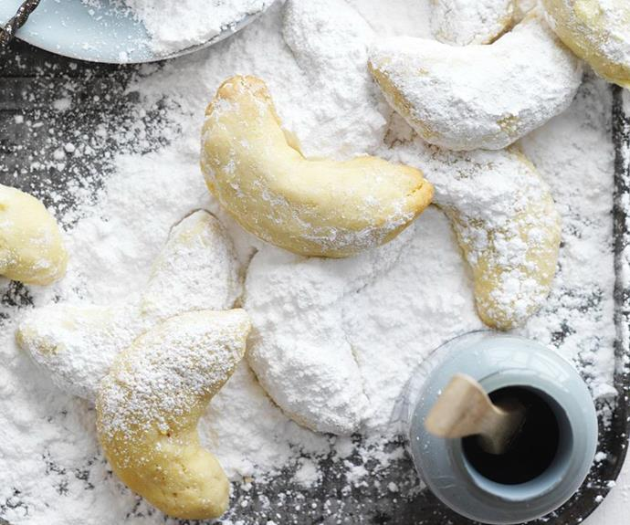 "**[Greek almond crescents](https://www.womensweeklyfood.com.au/recipes/greek-almond-crescents-15116|target=""_blank"")**  Commonly known as kourambiethes, these biscuits are traditionally served at Easter but they're so moreish, you'll want to bake them year-round!"