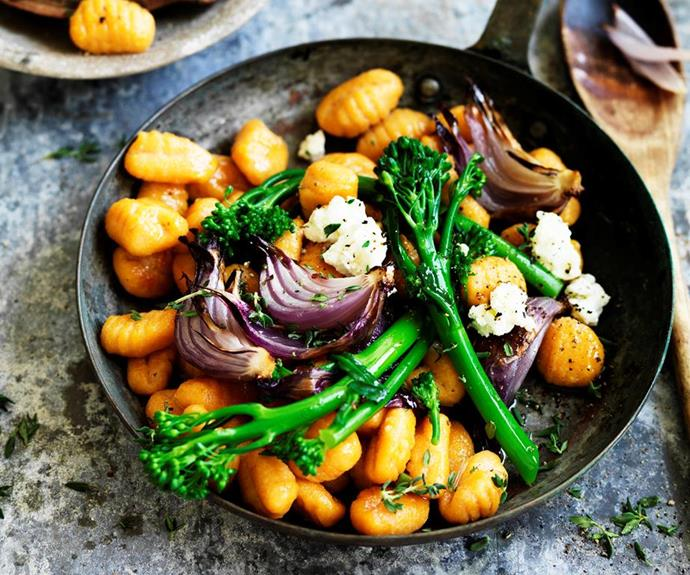 "[Pumpkin gnocchi with broccolini and red onion](https://www.womensweeklyfood.com.au/recipes/pumpkin-gnocchi-with-broccolini-and-red-onion-29580|target=""_blank"")  Creamy, nourishing pumpkin gnocchi with broccolini and red onion - a deliciously easy dish perfect for any night of the week!"