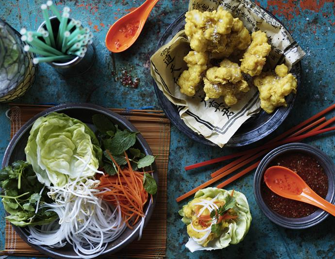 "[Coconut and prawn fritters with Asian salad](https://www.womensweeklyfood.com.au/recipes/coconut-and-prawn-fritters-with-asian-salad-8916|target=""_blank""