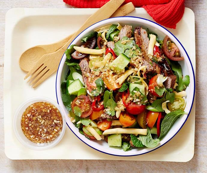 "[Thai beef salad](https://www.womensweeklyfood.com.au/recipes/thai-beef-salad-22500|target=""_blank""