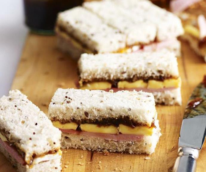 "[**Ham and brie finger sandwiches**](https://www.womensweeklyfood.com.au/recipes/ham-and-brie-finger-sandwiches-14223|target=""_blank"") <br><br> With the addition of caramelised onion relish, these ham and cheese finger sandwiches make the tastiest party bites. You can experiment with all sorts of fillings such as smoked salmon with cream cheese, egg and mayo, or chicken and watercress."