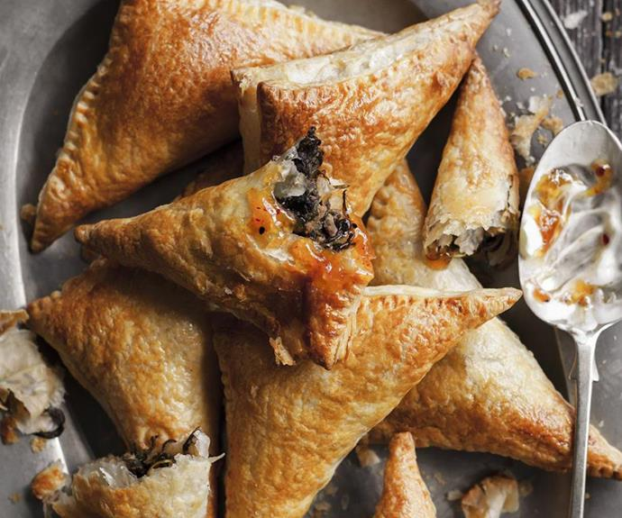 "**[Lamb and spinach samosas](https://www.womensweeklyfood.com.au/recipes/lamb-and-spinach-samosas-7848|target=""_blank"")** <br><br> These delicious Indian lamb-stuffed savoury pastries are brilliant enjoyed as an in-demand party starter or a light lunch."