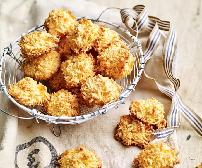 "[**Coconut macaroons**](https://www.womensweeklyfood.com.au/recipes/coconut-macaroons-4903|target=""_blank"") <br><br> Crispy and golden on the outside and chewy on the inside for the perfect coconut macaroon! These sweet coconutty egg white-based biscuits make the ideal party treat."