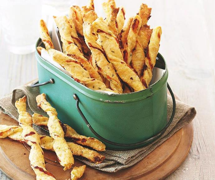 "[Cheddar and thyme twists](https://www.womensweeklyfood.com.au/recipes/cheddar-and-thyme-twists-31581|target=""_blank"") <br><br> Looking to add a little sophistication to your party spread? These simple yet morish cheese and thyme sticks will elevate all your dip and cheese platters."