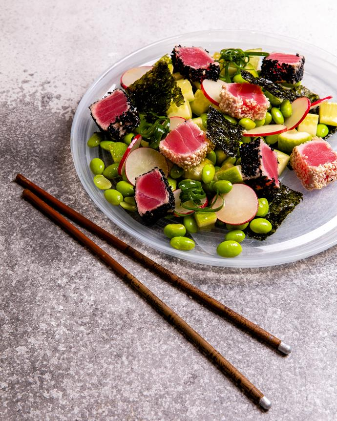 """[Seared tuna Asian salad](http://azaleaoils.com/recipe/seared-tuna-asian-salad/