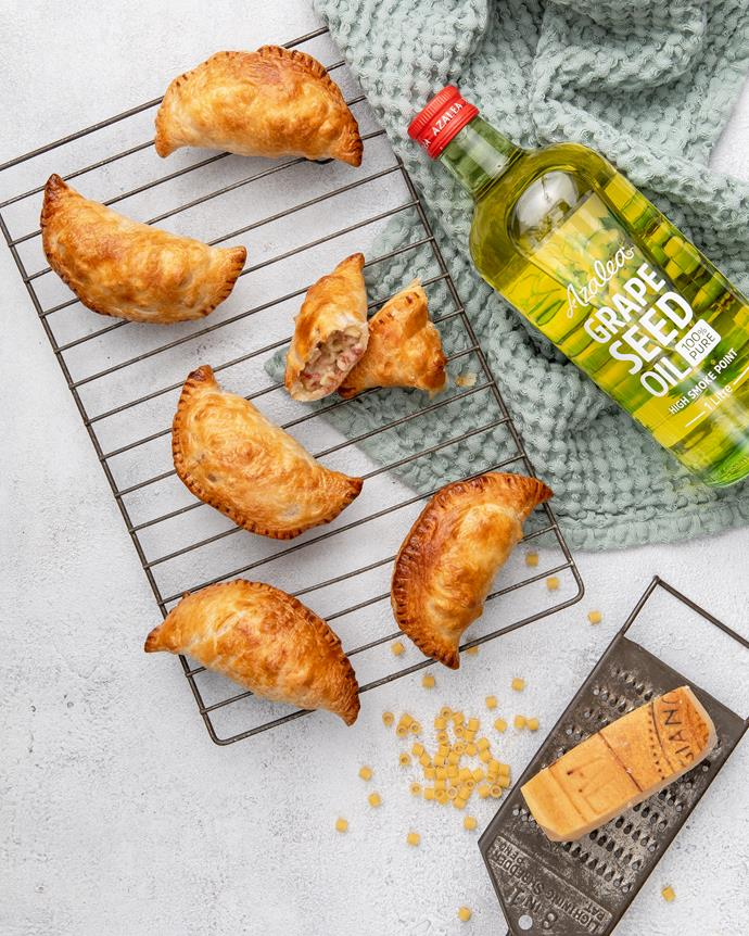"""[Corned beef mac 'n' cheese hand pies](http://azaleaoils.com/recipe/corned-beef-mac-cheese-hand-pies/