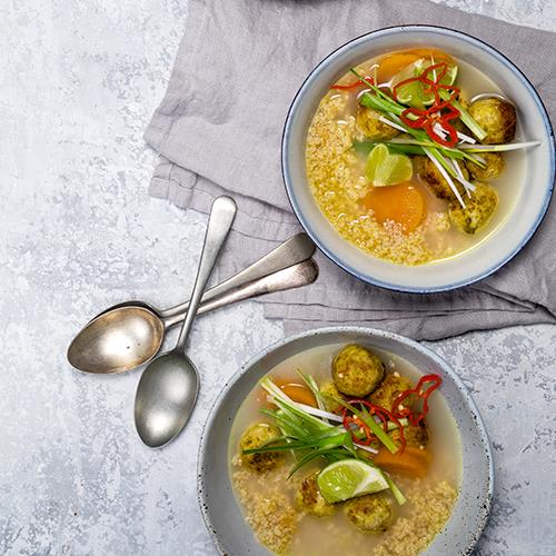 """[Jerk chicken meatball soup](http://azaleaoils.com/recipe/jerk-chicken-meatball-soup/