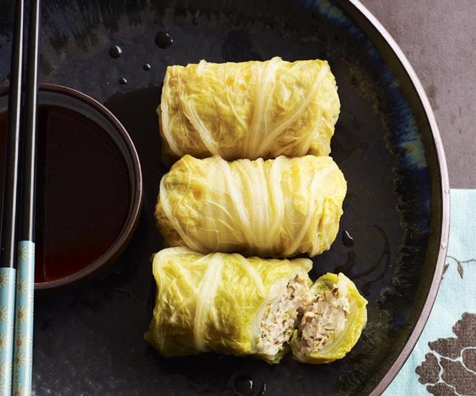 "[Japanese cabbage rolls](https://www.womensweeklyfood.com.au/recipes/japanese-cabbage-rolls-14852|target=""_blank"") <br><br> The humble and often misunderstood vegetable is put to good use with these Japanese-inspired cabbage rolls. Dunk them generously in the dipping sauce and experience the uniquely and delicately flavoured pork filling."