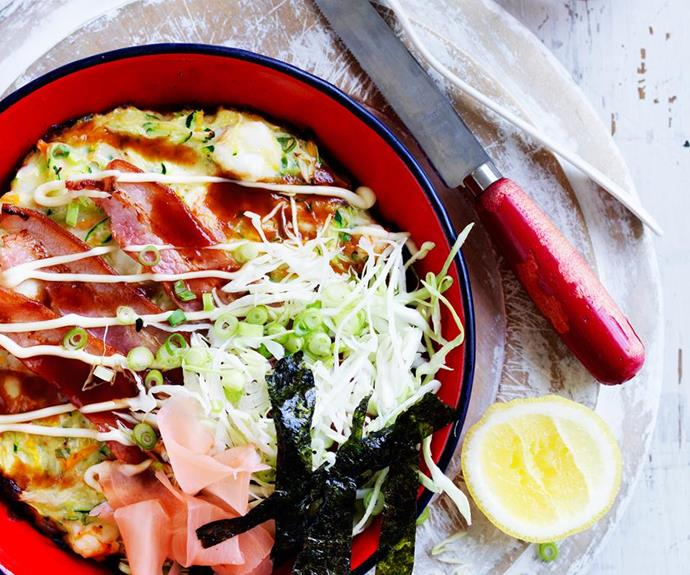 "[Prawn and vegetable Okonomiyaki - Japanese pancake](https://www.womensweeklyfood.com.au/recipes/prawn-and-vegetable-japanese-pancake-28870|target=""_blank"") <br><br> This fresh and succulent prawn and vegetable Japanese pancake is perfect for dinner when you're short on time. It's quick, easy and full of flavour."