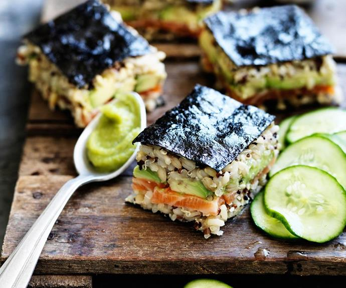 "[Spicy salmon mixed-grain sushi](https://www.womensweeklyfood.com.au/recipes/spicy-salmon-mixed-grain-sushi-29405|target=""_blank"") <br><br> Veg it up! Replace the fish with a thin plain omelette or slices of marinated tofu. <br><br> *Brought to you by [Hakubaku](https://hakubaku.com.au/