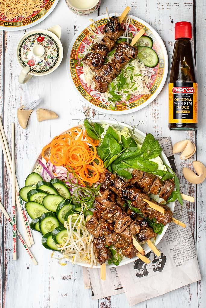 "**[Char Siu Beef Skewers](https://www.changs.com/recipes/Char-Siu-Beef-Skewers/|target=""_blank"")**  Perfect for a spring BBQ, these beef skewers boast a unique marinade via Chang's superb range of sauces."