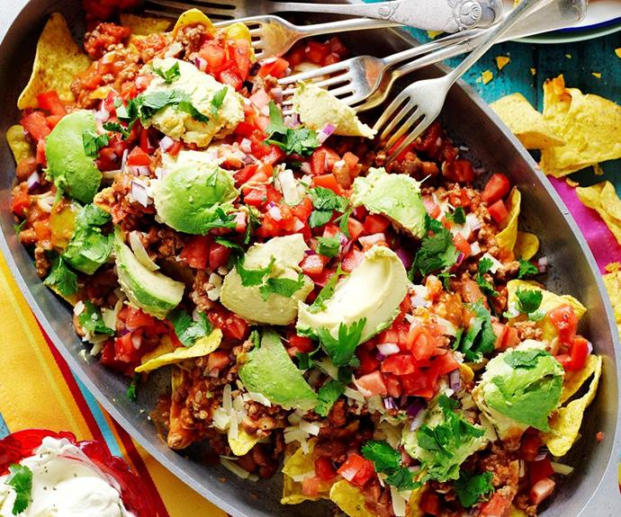 "**[Lamb and bean nachos with salsa fresca](https://www.womensweeklyfood.com.au/recipes/lamb-and-bean-nachos-with-salsa-fresca-28845|target=""_blank"")**  Take your taste-buds to Mexico with these cheesy lamb and bean nachos and zesty salsa fresca - easy to make and super delicious!"