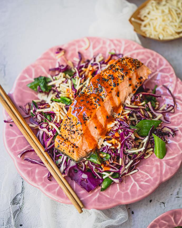 "**[Purple Cabbage Salmon Salad](https://www.changs.com/recipes/Purple-Cabbage-Salmon-Salad/|target=""_blank"")**  This rainbow salad will certainly impress your guests. Loaded with flavour, it's the perfect light spring dish."