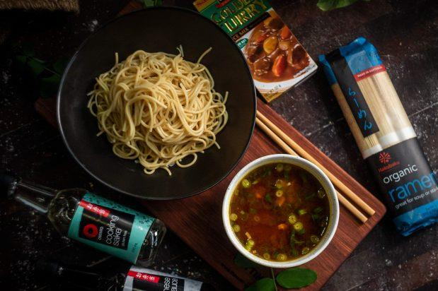 """**[Dipping ramen with curry broth (curry tsukemen)](https://asianinspirations.com.au/recipes/dipping-ramen-with-curry-broth-curry-tsukemen/